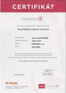 Certifikovaný prodej produktů Control4